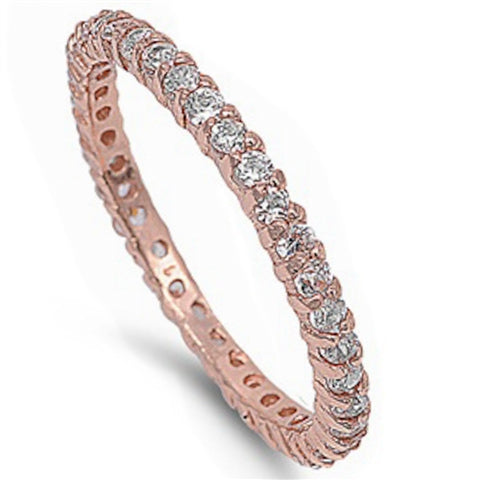 Rose Gold Plated Stackable Cubic Zirconia .925 Sterling Silver Eternity Band Sizes 4-9