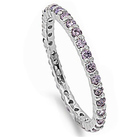 Stackable Amethyst Cubic Zirconia .925 Sterling Silver Eternity Band Sizes 4-10