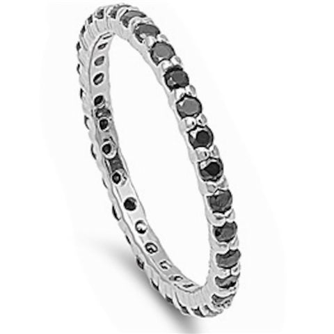 Stackable Black Cubic Zirconia .925 Sterling Silver Eternity Band Sizes 4-12