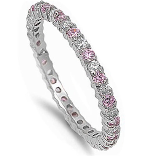 Stackable Pink & Clear Cubic Zirconia .925 Sterling Silver Eternity Band Sizes 4-10