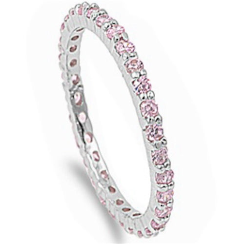 Stackable Pink Cubic Zirconia .925 Sterling Silver Eternity Band Sizes 4-10