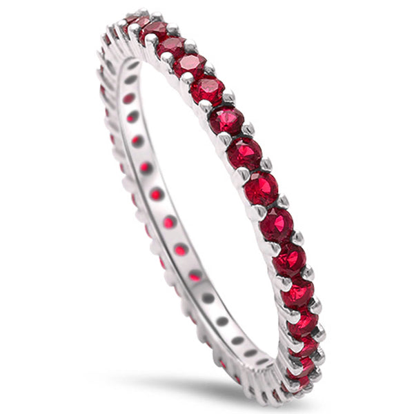 Stackable Ruby Cubic Zirconia .925 Sterling Silver Eternity Band Sizes 4-10