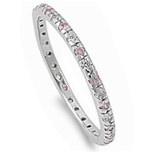 Beautiful Stackable Pink & Clear Cubic Zirconia Eternity Anniversary Band .925 Sterling Silver Sizes 4-10