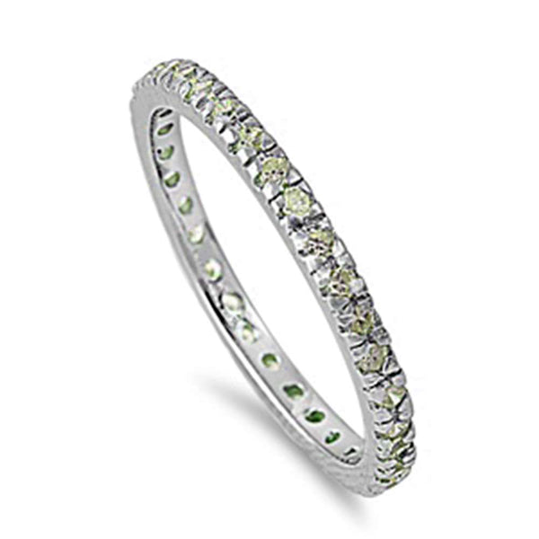 Peridot Stackable Eternity Birthstone Band .925 Sterling Silver Ring Sizes 4-10