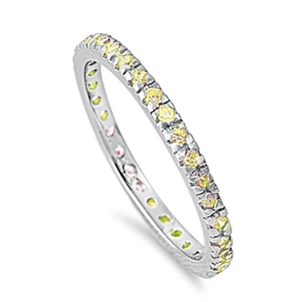 Yellow Stackable Eternity Birthstone Band .925 Sterling Silver Ring Sizes 4-10