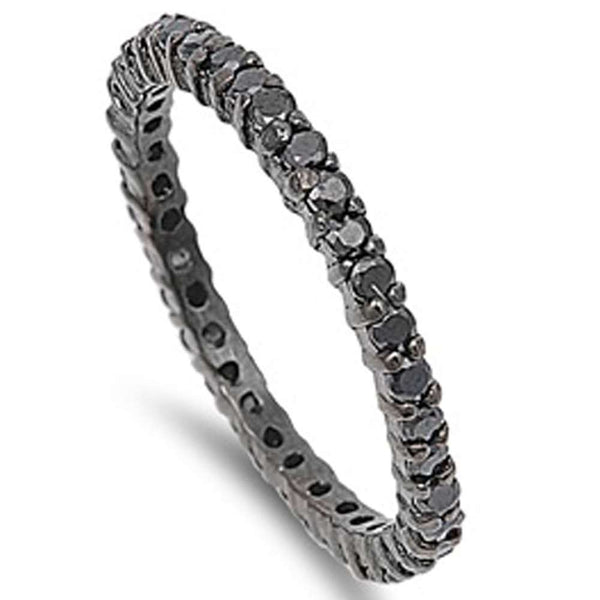 Black Plated Cubic Zirconia Stackable Band .925 Sterling Silver Ring SIZES 5-11