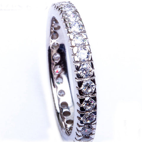 Clear Cz Stackable Eternity Band .925 Sterling Silver Ring Sizes 6-9