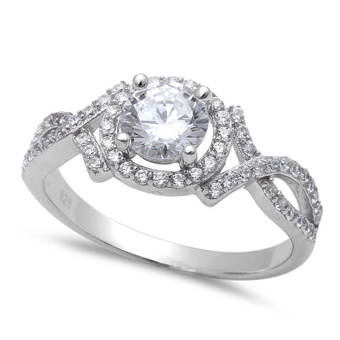1.25CT Halo Style Fine Cz Fashion Engagemet .925 Sterling Silver Ring Sizes 5-10