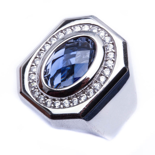 Men's Blue Sapphire & CZ Sterling Silver Ring Sizes 7-11