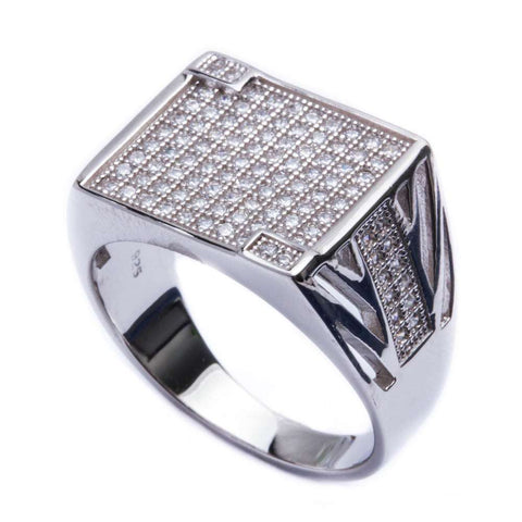 1ct Men's Pave CZ Fashion .925 Sterling Silver Ring Sizes 9-12