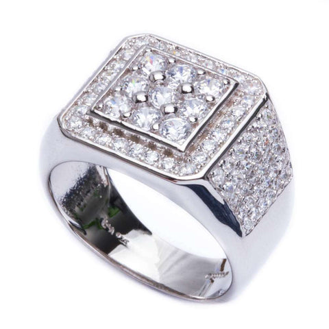 2.50ct Men's Fine CZ  .925 Sterling Silver Ring Sizes 9-12