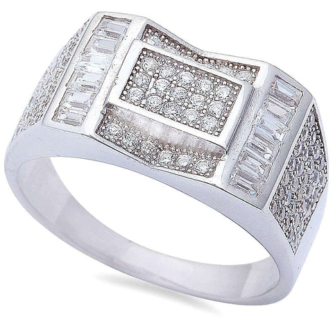 Men's 2ct Baguette & Pave Cz hiphop Fashion .925 Sterling Silver Ring Sizes 8-11