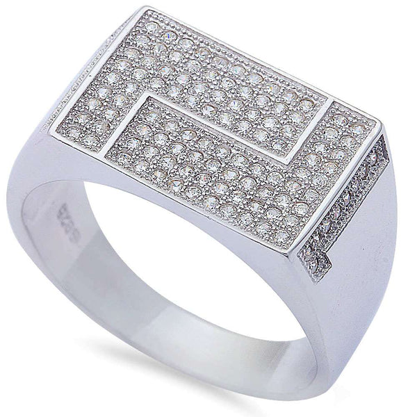 Men's 1ct Pave Cz High hiphop Fashion .925 Sterling Silver Ring Sizes 8-12