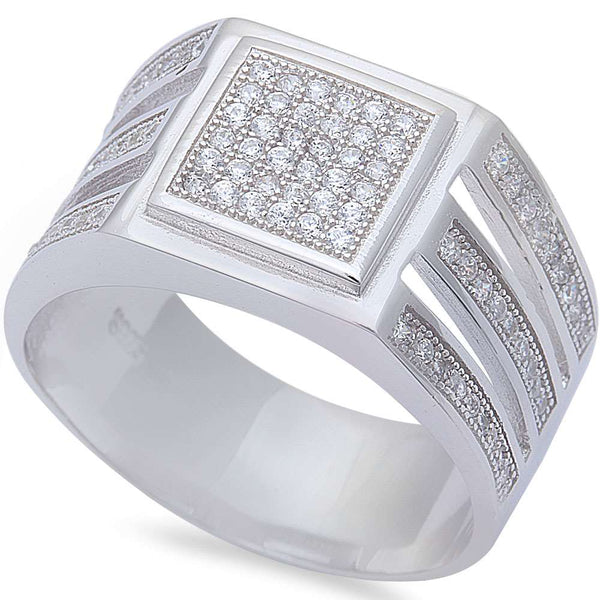 Men's 1ct Pave Cz Hip Hop Fashion .925 Sterling Silver Ring Sizes 8-11
