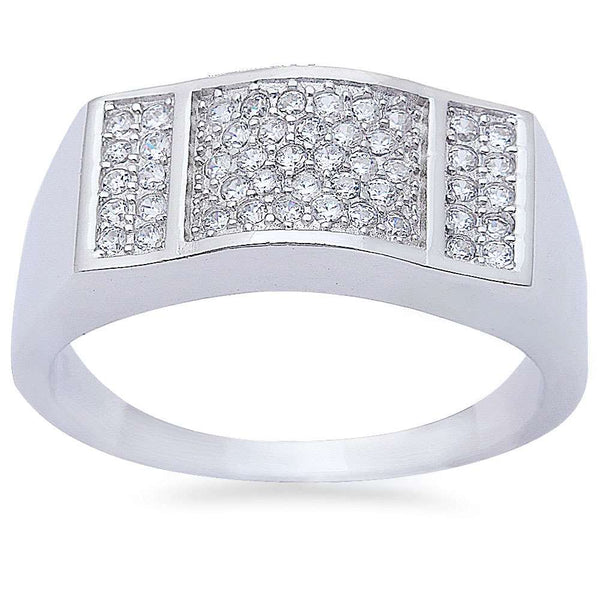 Men's 1ct Pave Cz Fashion Engagement .925 Sterling Silver Ring Sizes 8-12