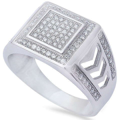 Men's 1ct Pave Cz w/ Military Insignia Band .925 Sterling Silver Ring Sizes 8-12