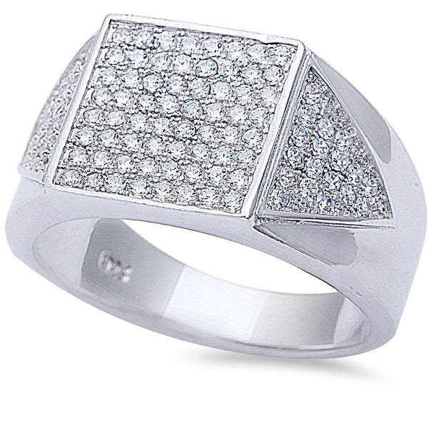 Men's 2ct Pave Cz Hiphop Fashion .925 Sterling Silver Ring Sizes 8-12