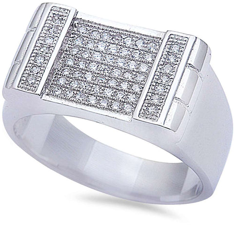 Men's 1ct Sparkle Pave Cz Hiphop Fashion .925 Sterling Silver Ring Sizes 8-12