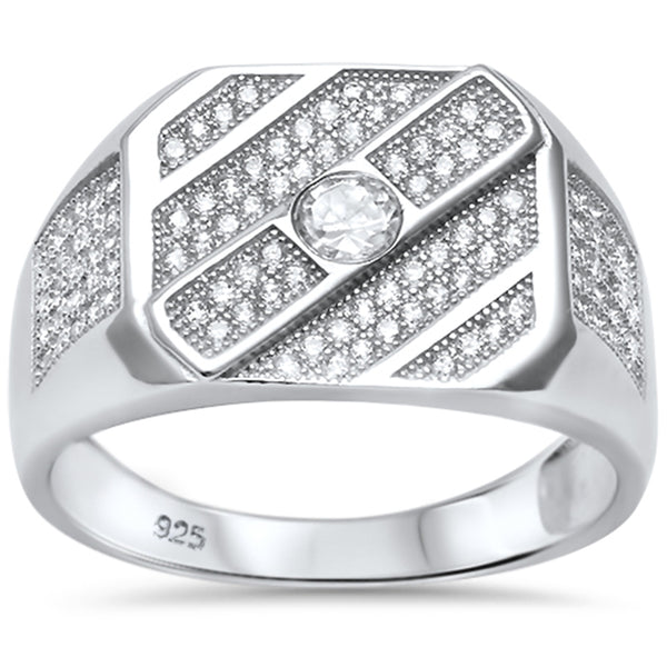 Men's 1.50ct Pave Cz Hiphop Fashion .925 Sterling Silver Ring Sizes 8-11