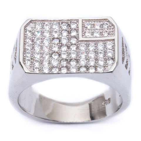 Men's 1ct Pave Cz w/ Military Insignia .925 Sterling Silver Ring Sizes 8-11