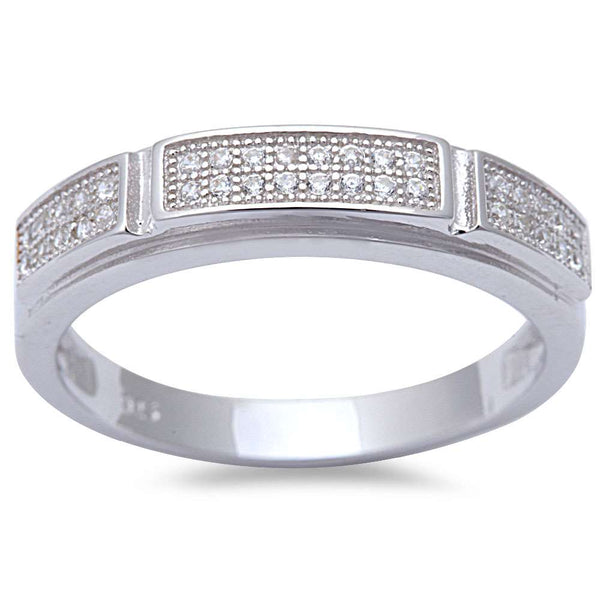 Men's 1/2CT Micro Pave Cz Fashion Engagement .925 Sterling Silver Ring Sizes 8-11