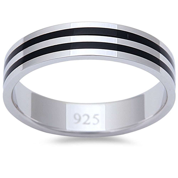 Men's 2 Stripe Black Onyx Fashion Engagement 5mm Band .925 Sterling Silver Ring Sizes 8-11