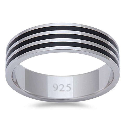 Men's 3 Stripe Black Onyx Fashion Engagement 6MM Band .925 Sterling Silver Ring Sizes 8-11