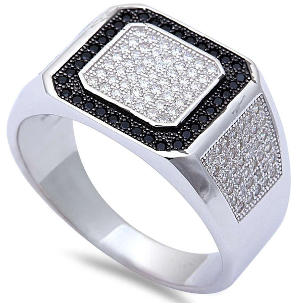 Men's 1CT Black & White Micro Pave Cz Hiphop Fashion .925 Sterling Silver Ring Sizes 8-12