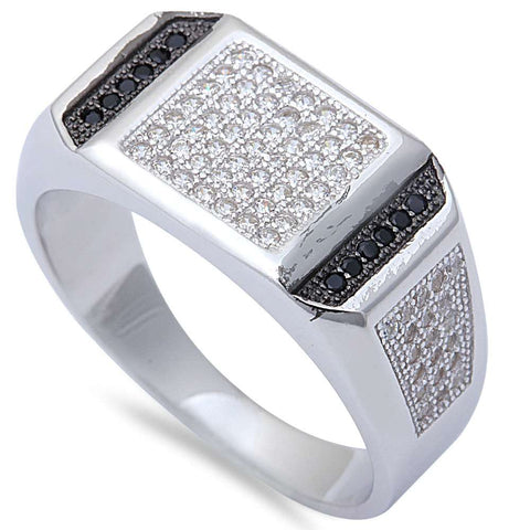 Men's 1CT Black & White Micro Pave Cz Hiphop Fashion .925 Sterling Silver Ring Sizes 9-11