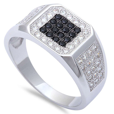 Men's 1.50CT White & Black Micro Pave Cz Hiphop Fashion .925 Sterling Silver Ring Sizes 7-11