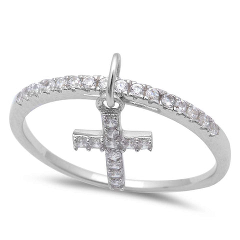 Cz Dangle Cross Band .925 Sterling Silver Ring Sizes 5-9
