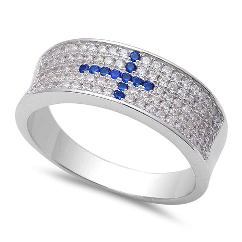 Men's Blue Sapphire Cross In Micro Pave Cubic Zirconia Band  .925 Sterling Silver Ring Sizes 8-12