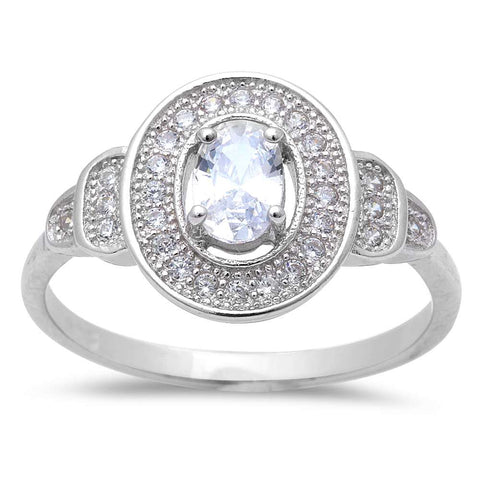1/2CT Oval & Micro Pave Cubic Zirconia  .925 Sterling Silver Ring Size 6-9