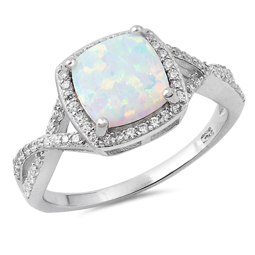 Lab Created White Opal Evil Eye CZ .925 Sterling Silver Ring