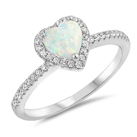 White Opal Heart & Cubic Zirconia Promise .925 Sterling Silver Ring Sizes 5-10