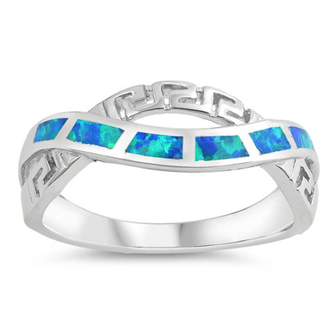 Blue Opal Greek Key Infinity .925 Sterling Silver Ring Sizes 5-10