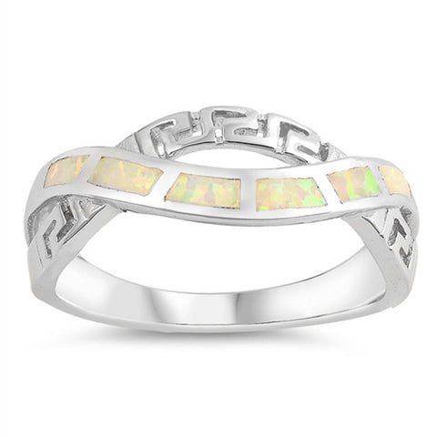 White Opal Greek Key Infinity .925 Sterling Silver Ring Sizes 5-10
