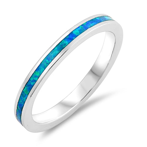 Blue Opal Eternity Band .925 Sterling Silver Ring Sizes 5-10