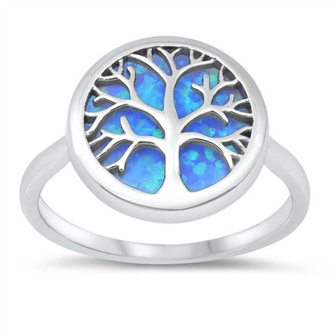 Family Tree Blue Opal .925 Sterling Silver Ring Sizes 4-10