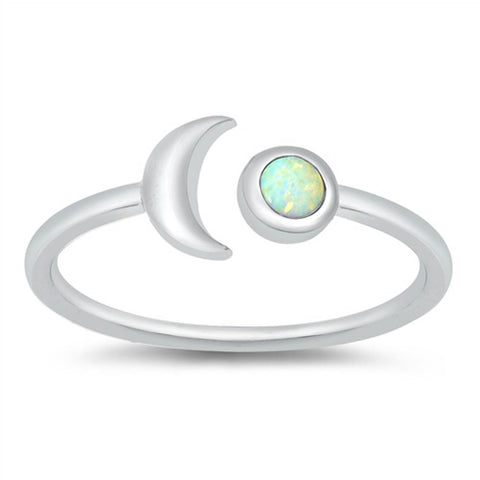 Moon Round White Opal .925 Sterling Silver Ring Sizes 4-10