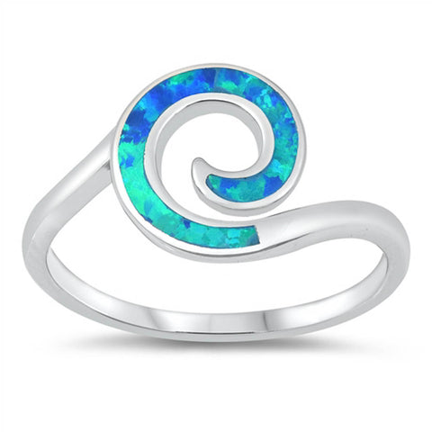 Spiral Blue Opal .925 Sterling Silver Ring Sizes 5-10