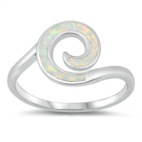 Spiral White Opal .925 Sterling Silver Ring Sizes 5-10