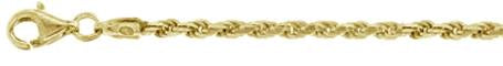 050-2.5MM Yellow Gold Plated Rope Chain .925 Solid Sterling Silver Sizes 8-28