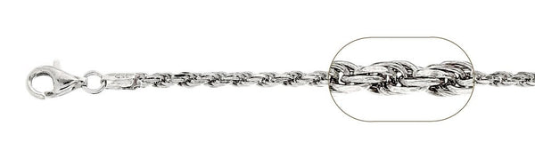 060-3.0MM Rhodium Plated Rope Chain .925  Solid Sterling Silver Available in 8