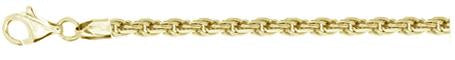 070-3.5MM Yellow Gold Plated Rope Chain .925 Solid Sterling Silver Sizes 8-28