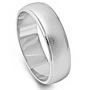 Men's Brushed Finish Wedding Band .925 Sterling Silver Ring Sizes 6-13