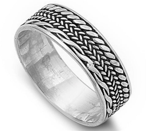 Men's Braided Wedding Band .925 Sterling Silver Ring Sizes 8-13