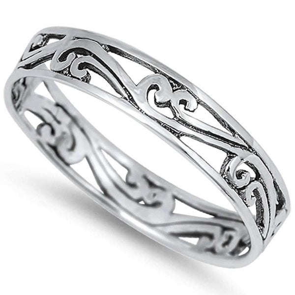 Cute Design Band .925 Sterling Silver Ring Sizes 4-12