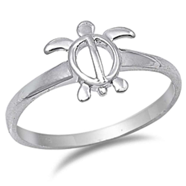 Plain Turtle .925 Sterling Silver Ring Sizes 4-10