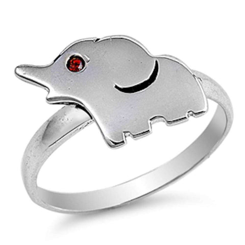 Plain Elephant & Garnet Eyes .925 Sterling Silver Ring Sizes 4-10